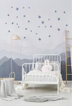Stickers muraux étoiles bleues Pom le bonhomme