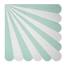 20 grandes serviettes rayures vert menthe et blanc Meri Meri