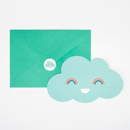 8 INVITATIONS NUAGES AVEC ENVELOPPES ET STICKERS, MY LITTLE DAY