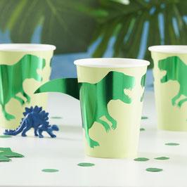 8 Gobelets Dinosaures Verts