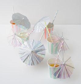 24 longs parasols pour cocktail irisés meri meri