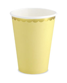 6 gobelets jaune pastel pastel bordure dorée