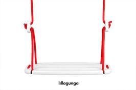 Balançoire Classic enfant plateau bois blanc et corde rouge