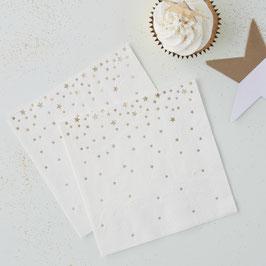 20 petites serviettes en papier fond blanc étoiles dorées