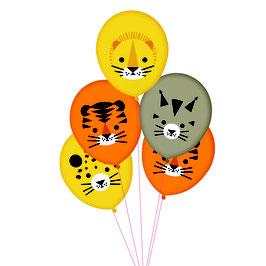 5 ballons imprimés animaux de la jungle my little day