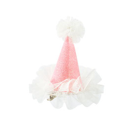 Barrette mini chapeau pailleté rose avec tulle blanc