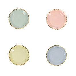 8 assiettes pastels petits fours bordure dorée Meri Meri