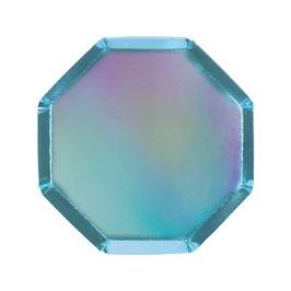 8 petites assiettes octogonales bleues holographiques meri meri