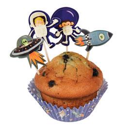 Kit cupcakes et piques pour decoration gateaux thème espace, astronaute