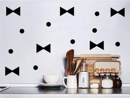 Stickers muraux noeuds et pois noirs Pom le bonhomme