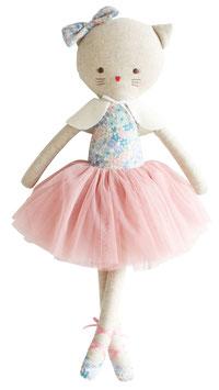 Grande poupée chat ballerine Adeleine haut fleurs et tutu vieux rose Alimrose