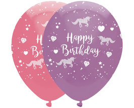 6 ballons en latex avec écriture Happy Birthday et dessins pour anniversaire Licorne