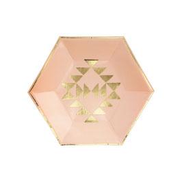 8 petites assiettes roses avec triangles dorés