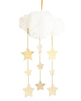 Mobile nuage en tulle ivoire avec étoiles dorées