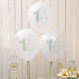 8 Ballons fête premier anniversaire Miffy