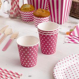 8 gobelets en carton fond rose bonbon pois blancs
