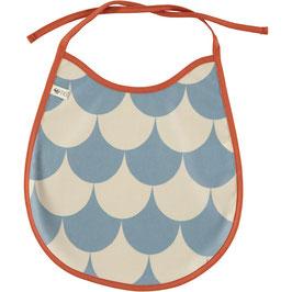 Bavoir en coton enduit écailles bleu modèle Palermo de Nobodinoz