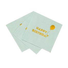 """16 petites serviettes vert menthe avec écriture """"Happy Birthday"""" et ballon"""
