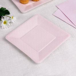 8 assiettes carrées rose pastel plumetis blancs