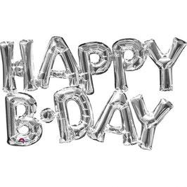 "Ballon métallique argent mot ""Happy bday"" en majuscule"