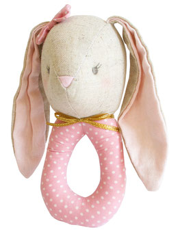 Hochet rond lapin couleur lin et tissu rose pastel pois blancs Alimrose