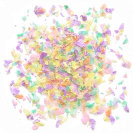 Confettis pastels vert menthe parme, jaune pastel, rose pastel, pêche