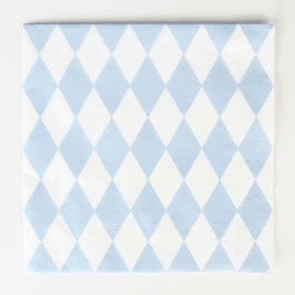 20 serviettes en papier motif losanges bleu pastel my little day