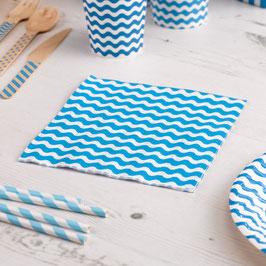 20 serviettes en papier fond blanc vague bleu turquoise