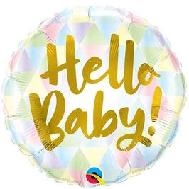 Ballon Rond Pastel Hello Baby en Aluminium