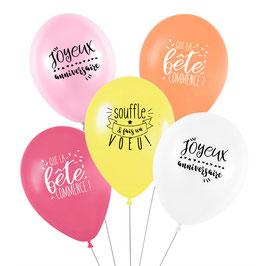 5 ballons anniversaire pastels Sorbet