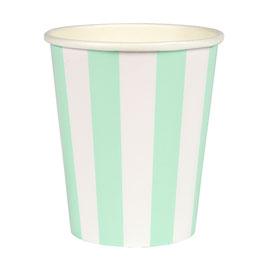 12 gobelets rayures vert menthe et blanc meri meri