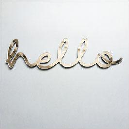 """Décoration murale """"hello"""" miroir argent en acrylique"""