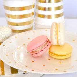 10 petites assiettes fond blanc petits pois dorés
