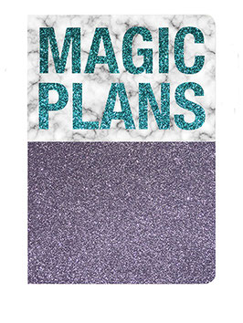 "Carnet pailleté format 12X17.5cms message ""Magic plans"""