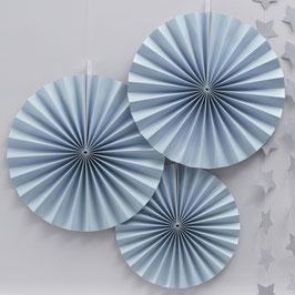 3 rosaces décoratives bleu ciel en carton