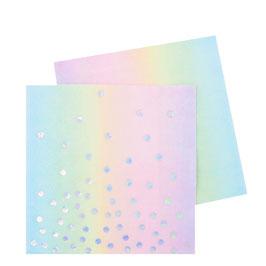 20 petites serviettes arc en ciel pastel pois irisés