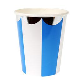8 gobelets rayés bleu et blanc avec bordure argent Meri Meri