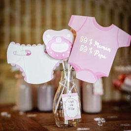 Kit photobooth Baby Shower fille rose