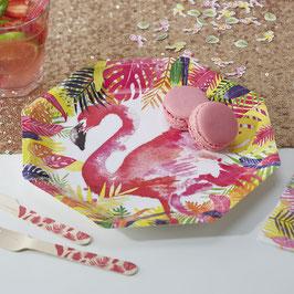 8 assiettes en carton décoration flamant rose