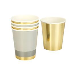 8 gobelets dorés et rayés dorés et or