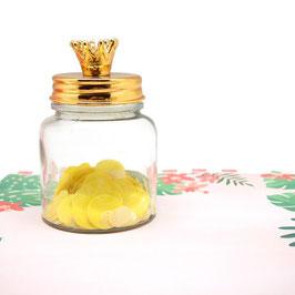 Pot en verre avec couvercle métal doré et couronne