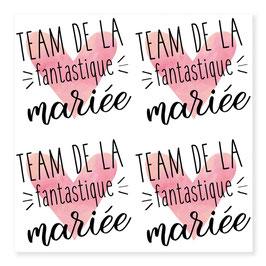 """1 planche de tatouage """"Team de la fantastique mariée"""""""