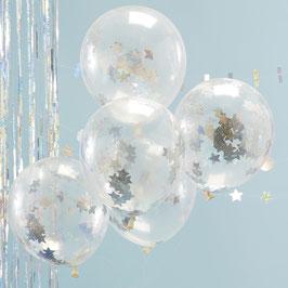 5 ballons transparents avec confettis étoiles irisées argent à l'intérieur