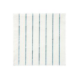 16 petites serviettes blanches rayures bleues métallisées meri meri