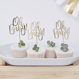 12 cake toppers Oh Baby dorés