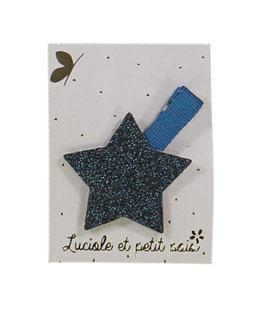 Grande Barrette pince marine étoile bleu nuit Luciole et petit pois