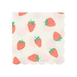 16 petites serviettes fraises meri meri