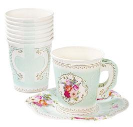 12 gobelets tasses avec soucoupes fleurs vintage