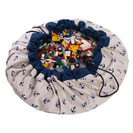 Sac de rangement et tapis de jeu motif ancre bleu et blanc Play and go