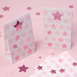 5 Pochettes Cadeaux Blanches Etoiles Roses